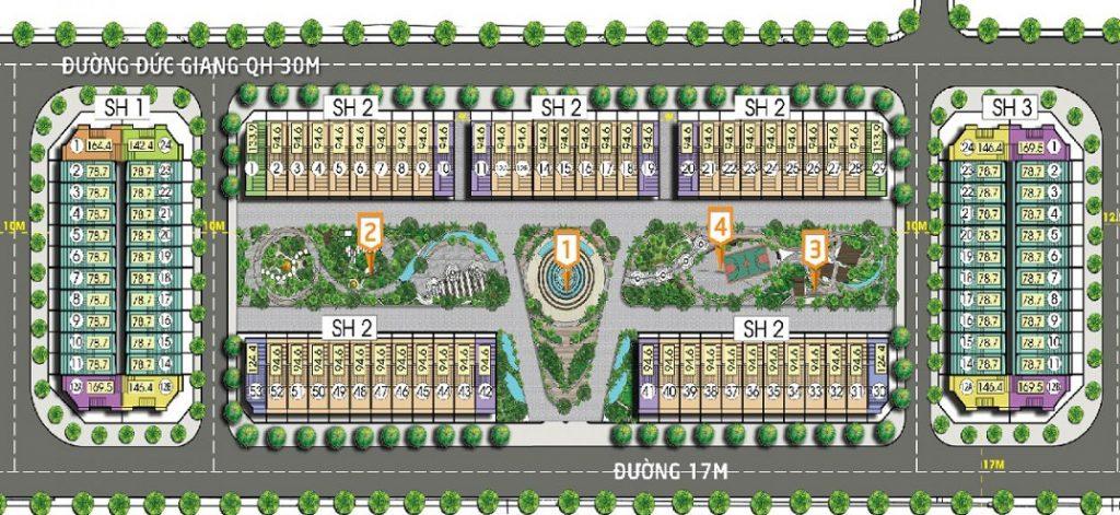 Mặt bằng phân lô Shophouse chi tiết dự án Bình Minh Garden 93 Đức Giang