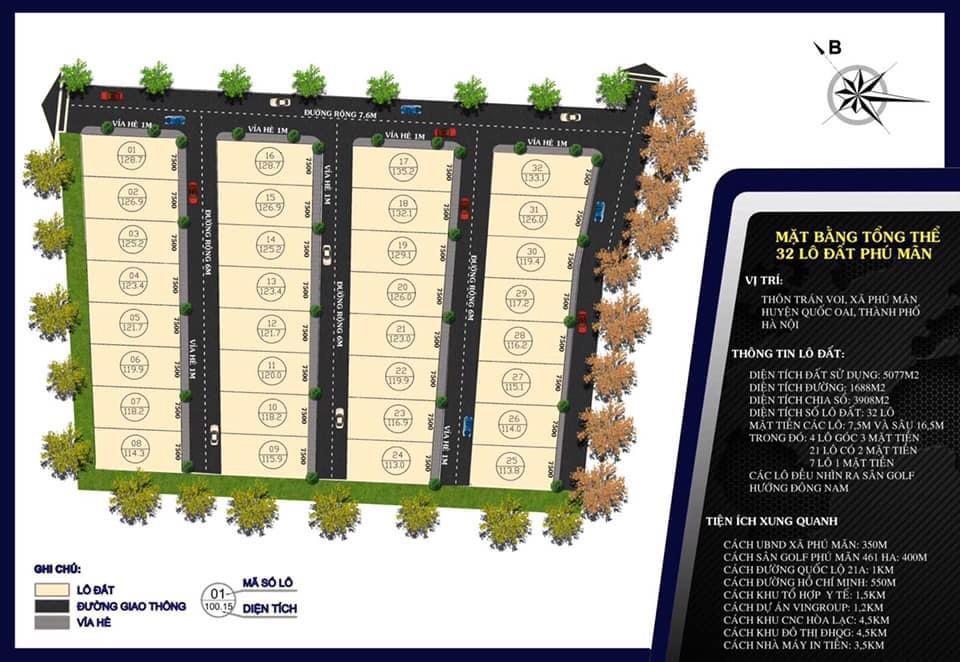 Mặt bằng phân lô 32 lô khu dân cư Phú Mãn - Hòa Lạc