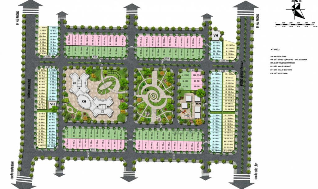 Mặt bằng phân lô dự án TNR Grand Palace Đông Mỹ - Thái Bình