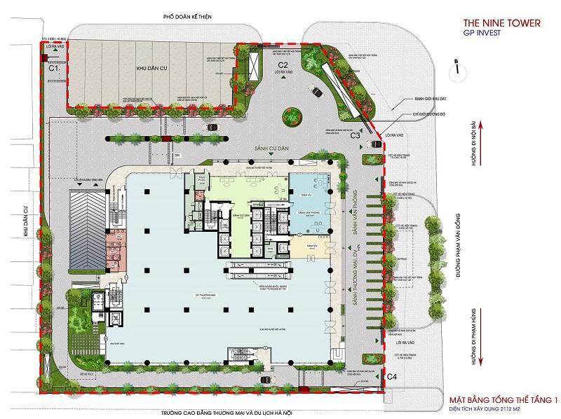 Mặt bằng tầng 1 dự án chung cư The Nine Tower số 9 Phạm Văn Đồng