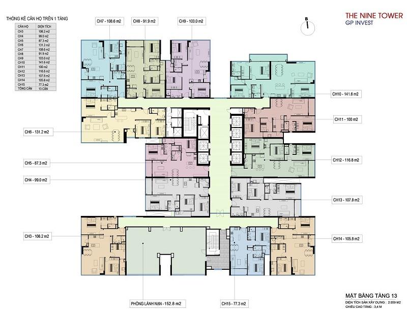 Mặt bằng tầng 13 dự án chung cư The Nine Tower số 9 Phạm Văn Đồng