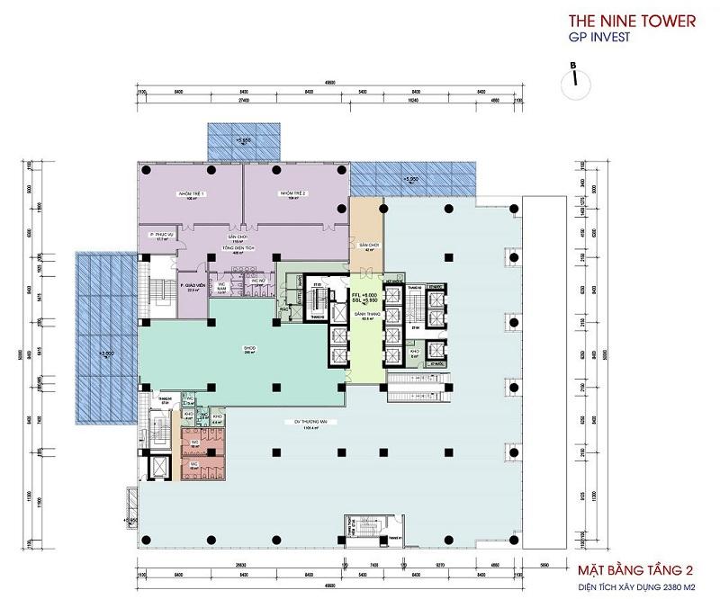 Mặt bằng tầng 2 dự án chung cư The Nine Tower số 9 Phạm Văn Đồng