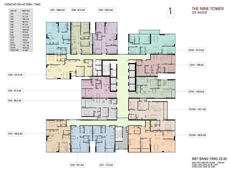 Mặt bằng tầng 23-30 dự án chung cư The Nine Tower số 9 Phạm Văn Đồng