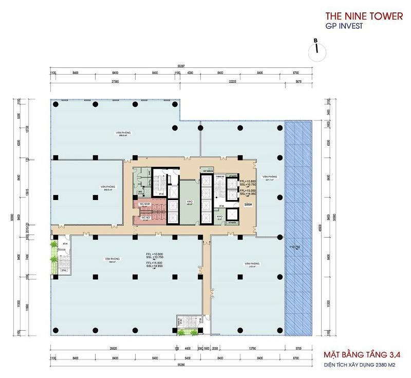 Mặt bằng tầng 3-4 dự án chung cư The Nine Tower số 9 Phạm Văn Đồng
