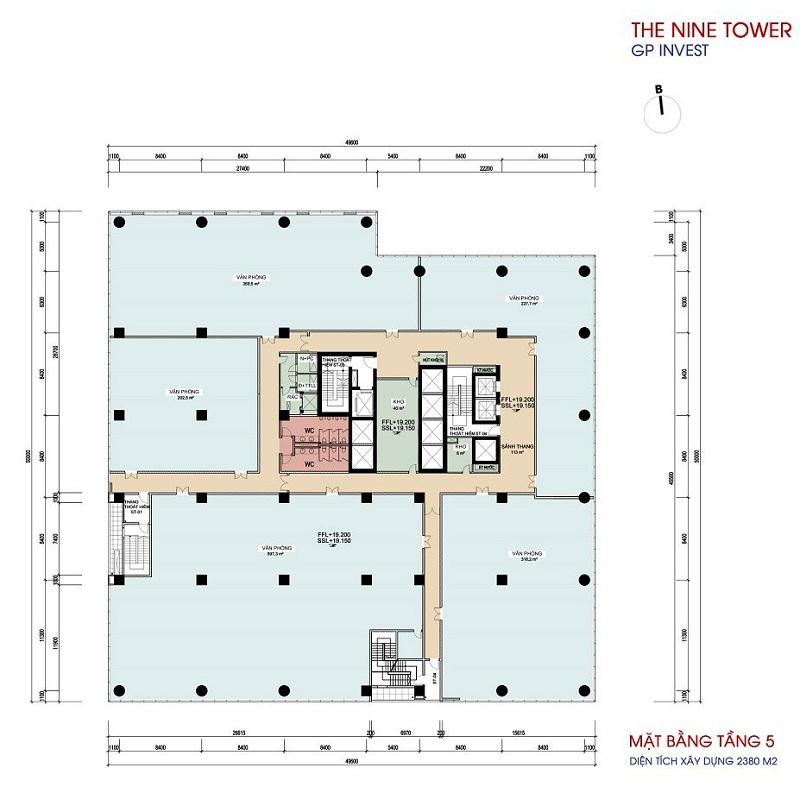 Mặt bằng tầng 5 dự án chung cư The Nine Tower số 9 Phạm Văn Đồng