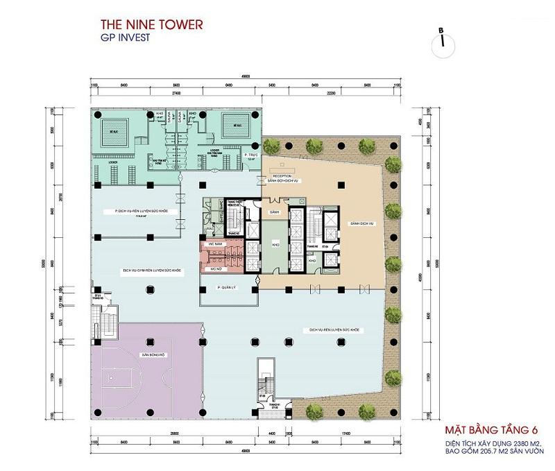 Mặt bằng tầng 6 dự án chung cư The Nine Tower số 9 Phạm Văn Đồng