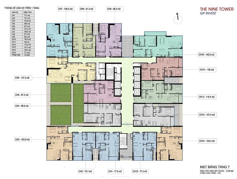 Mặt bằng tầng 7 dự án chung cư The Nine Tower số 9 Phạm Văn Đồng