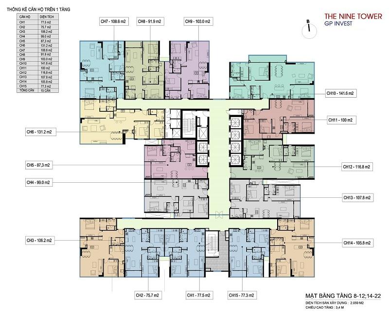 Mặt bằng tầng 8-12-14-22 dự án chung cư The Nine Tower số 9 Phạm Văn Đồng