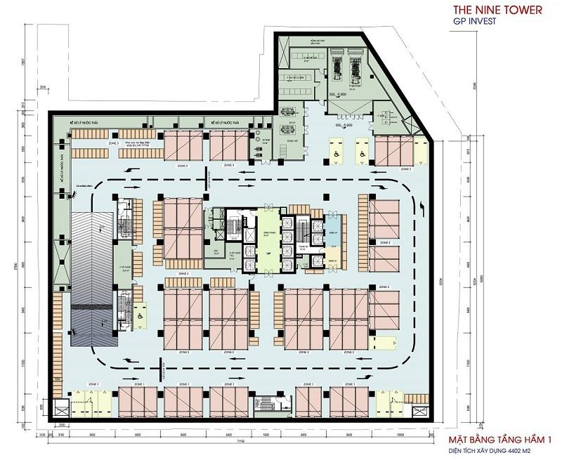 Mặt bằng tầng hầm 1 dự án chung cư The Nine Tower số 9 Phạm Văn Đồng