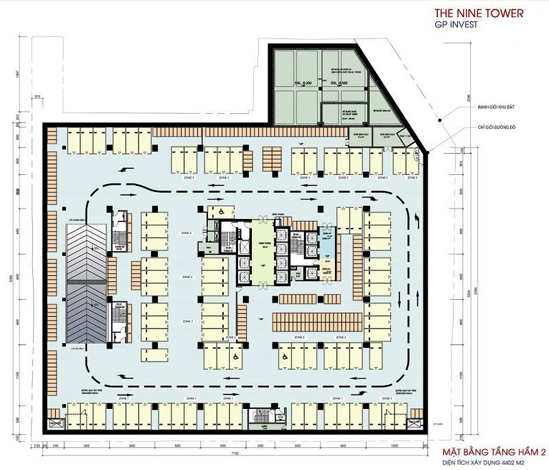Mặt bằng tầng hầm 2 dự án chung cư The Nine Tower số 9 Phạm Văn Đồng
