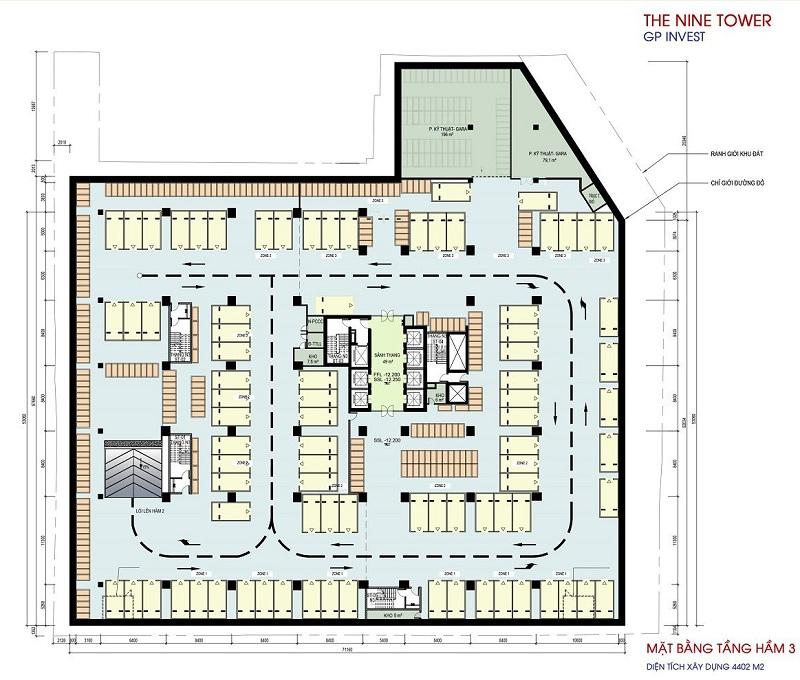 Mặt bằng tầng hầm 3 dự án chung cư The Nine Tower số 9 Phạm Văn Đồng