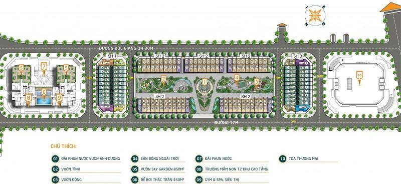 Mặt bằng tiện ích dự án Bình Minh Garden 93 Đức Giang