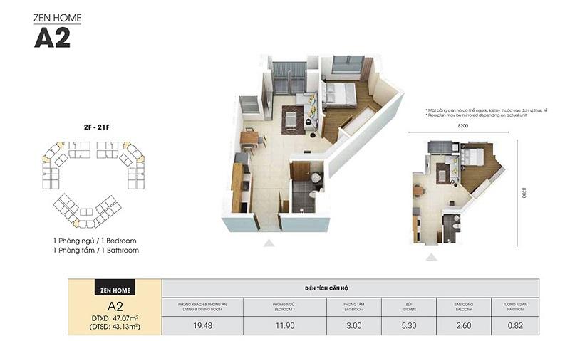 Mẫu thiết kế căn A2 chung cư Dragon Castle Hạ Long