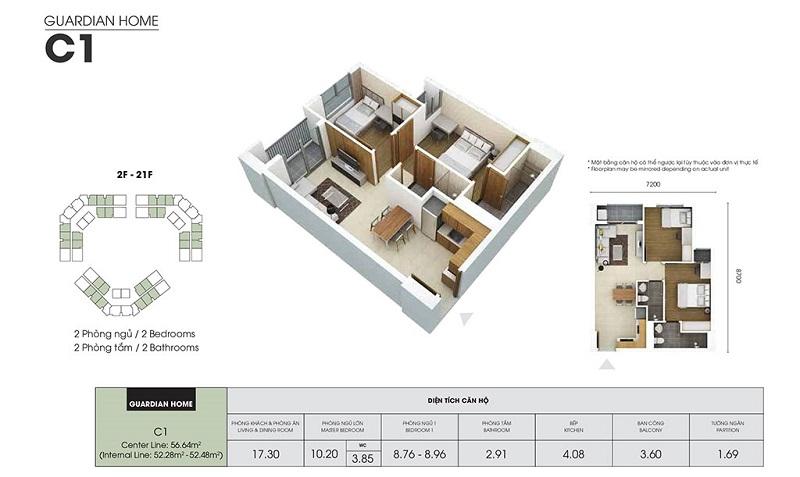 Mẫu thiết kế căn C1 chung cư Dragon Castle Hạ Long