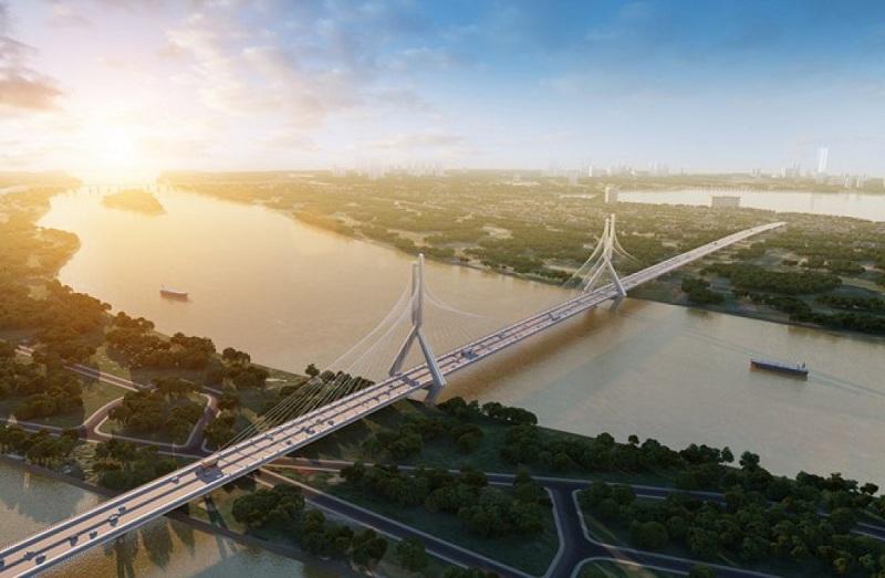 Phối cảnh cây cầu Tứ Liên nối Đông Anh và Tây Hồ