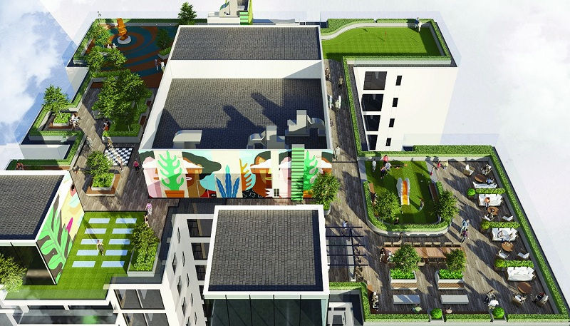 Phối cảnh tiện ích tầng mái dự án chung cư The Nine Tower số 9 Phạm Văn Đồng