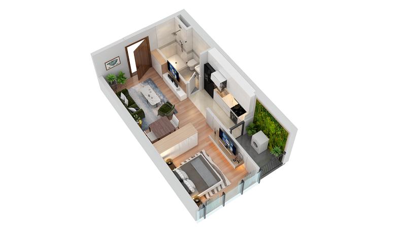 Thiết kế căn hộ loại A TNR The Nosta 90 Đường Láng