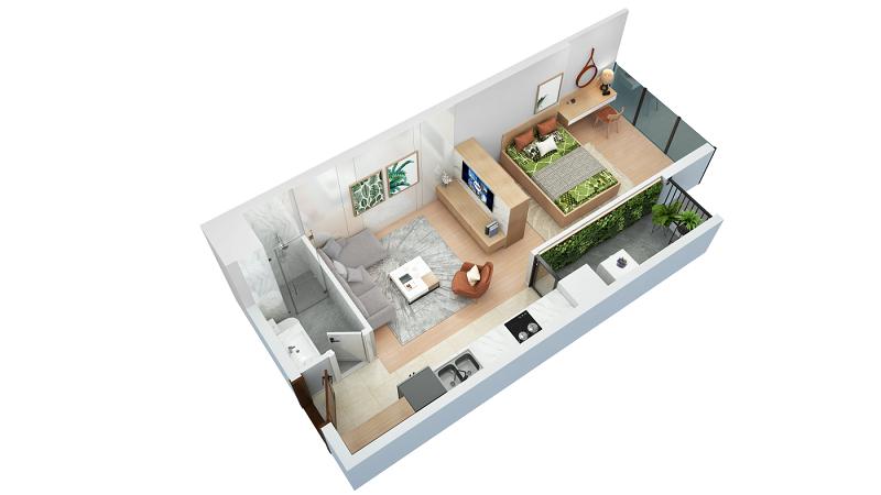 Thiết kế căn hộ loại B TNR The Nosta 90 Đường Láng
