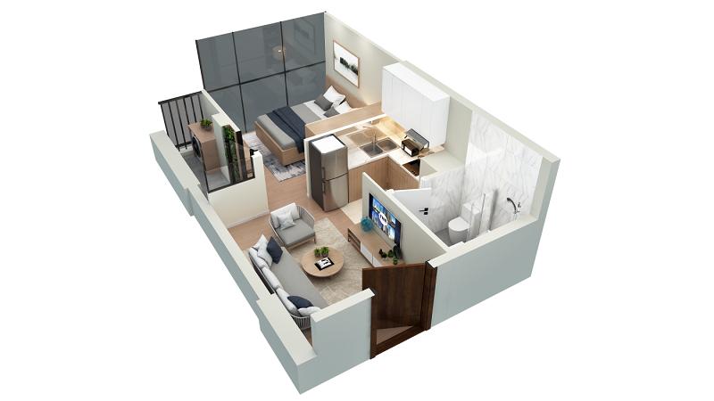 Thiết kế căn hộ loại C TNR The Nosta 90 Đường Láng