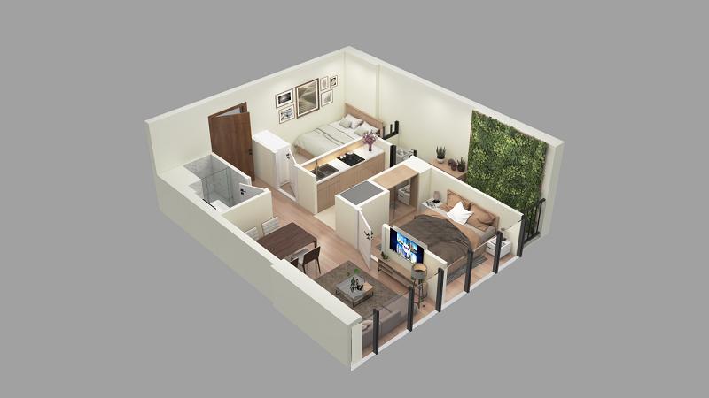 Thiết kế căn hộ loại E TNR The Nosta 90 Đường Láng