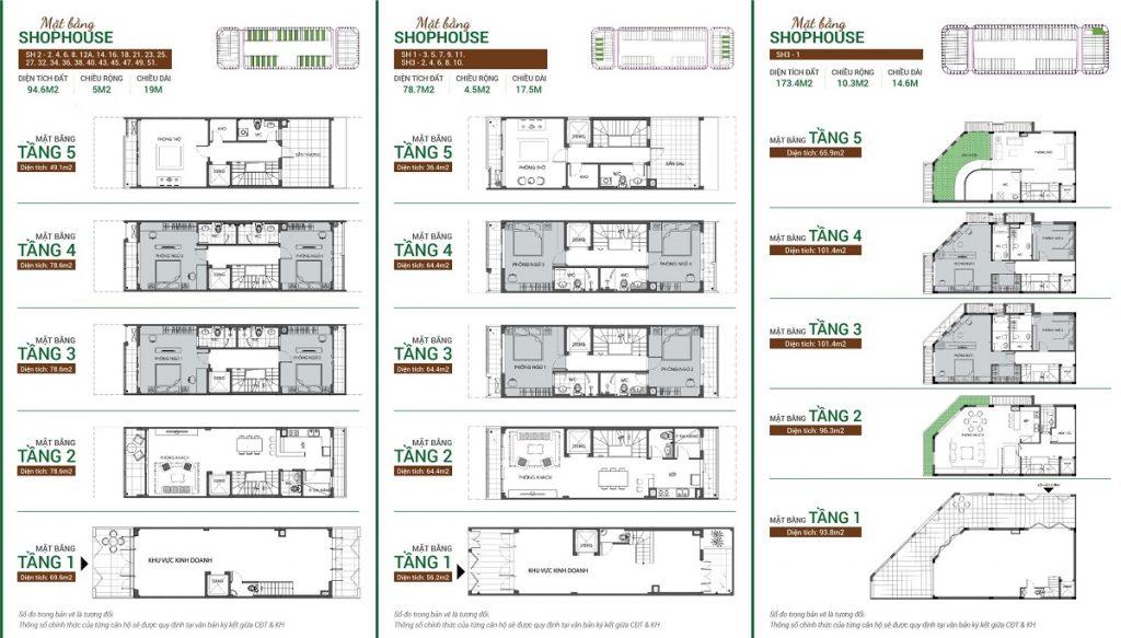 Mẫu thiết kế Shophouse Bình Minh Garden 93 Đức Giang