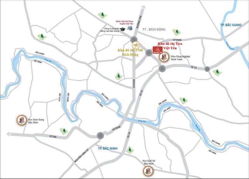 Vị trí dự án Đất nền Tira Hồng Thái - Việt Yên - Bắc Giang