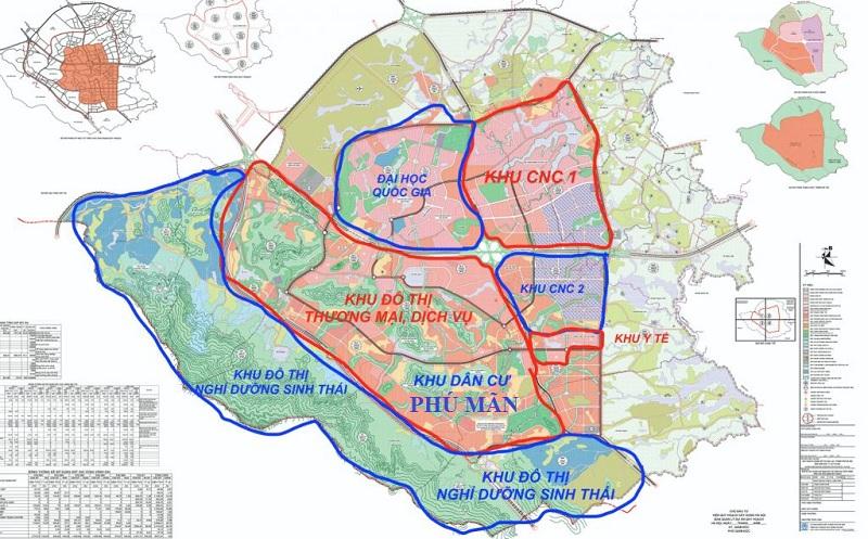 Vị trí khu dân cư Phú Mãn 32 lô trong khu CNC Hòa Lạc