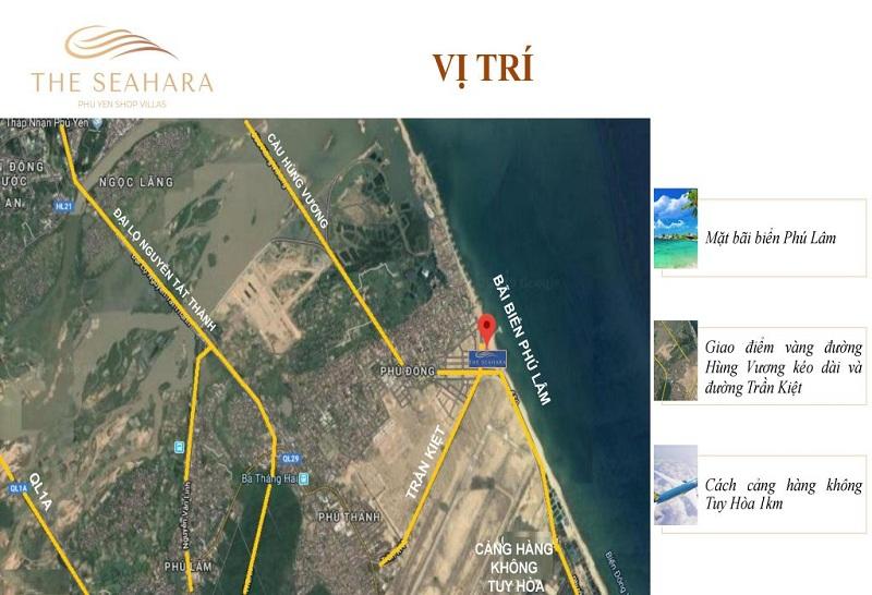 Vị trí shopvillas dự án The Seahara Tuy Hòa - Phú Yên