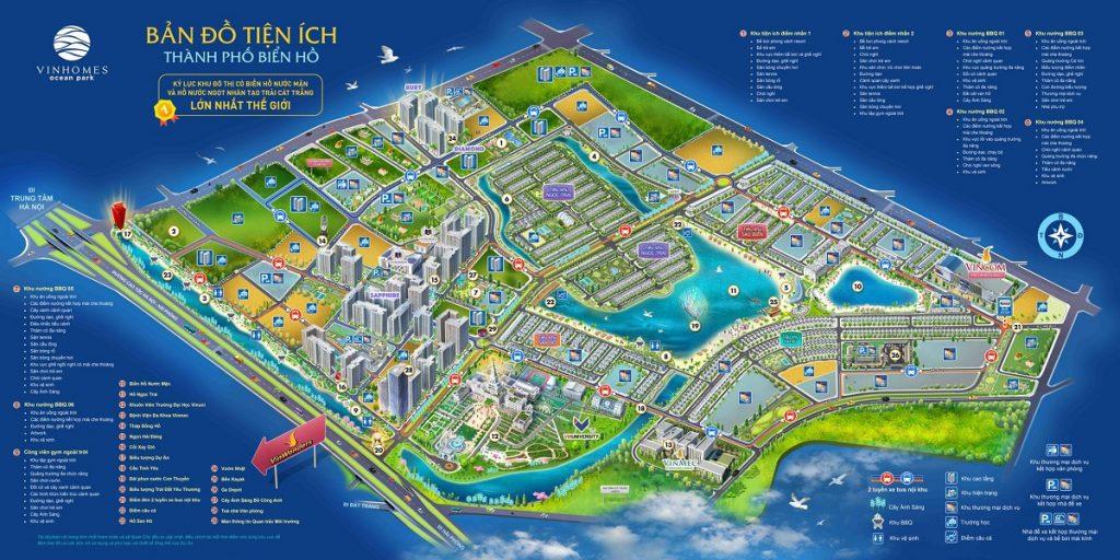 Bản đồ tiện ích Vinhomes Ocean Park