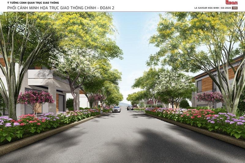 Đường nội bộ dự án nghỉ dưỡng La Saveur Hòa Bình - Hồ Đồng Chanh - Lương Sơn
