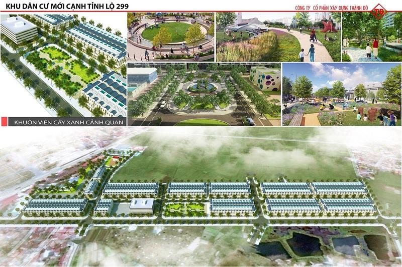 Khuôn viên cây xanh dự án Khu đô thị Dĩnh Trì - Bắc Giang