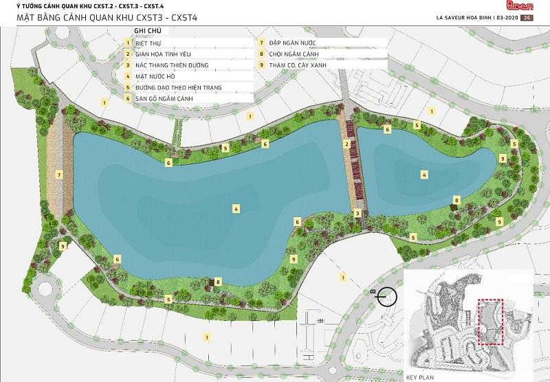 Mặt bằng cảnh quan dự án nghỉ dưỡng La Saveur Hồ Đồng Chanh - Lương Sơn - Hòa Bình