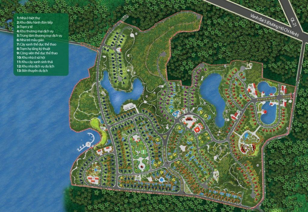 Mặt bằng dự án nghỉ dưỡng La Saveur Hồ Đồng Chanh - Lương Sơn - Hòa Bình