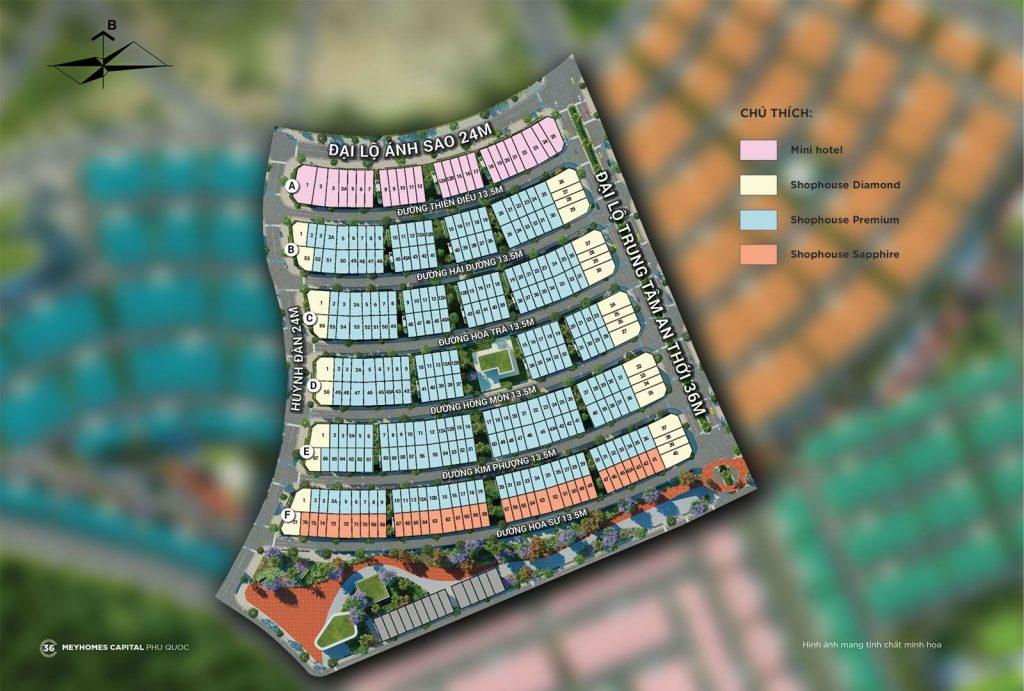 Mặt bằng phân khu Rosada dự án Meyhomes Capital Phú Quốc - Tân Á Đại Thành