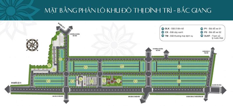 Mặt bằng phân lô dự án Khu đô thị Dĩnh Trì - Bắc Giang