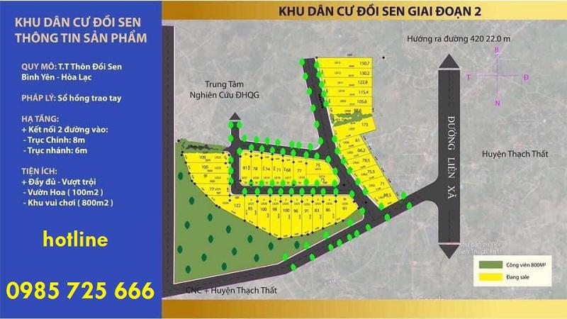 Mặt bằng phân lô khu dân cư Đồi Sen - Bình Yên - Hòa Lạc