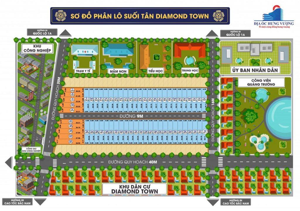 Mặt bằng phân lô Suối Tân Diamond Town Cam Lâm - Khánh Hòa