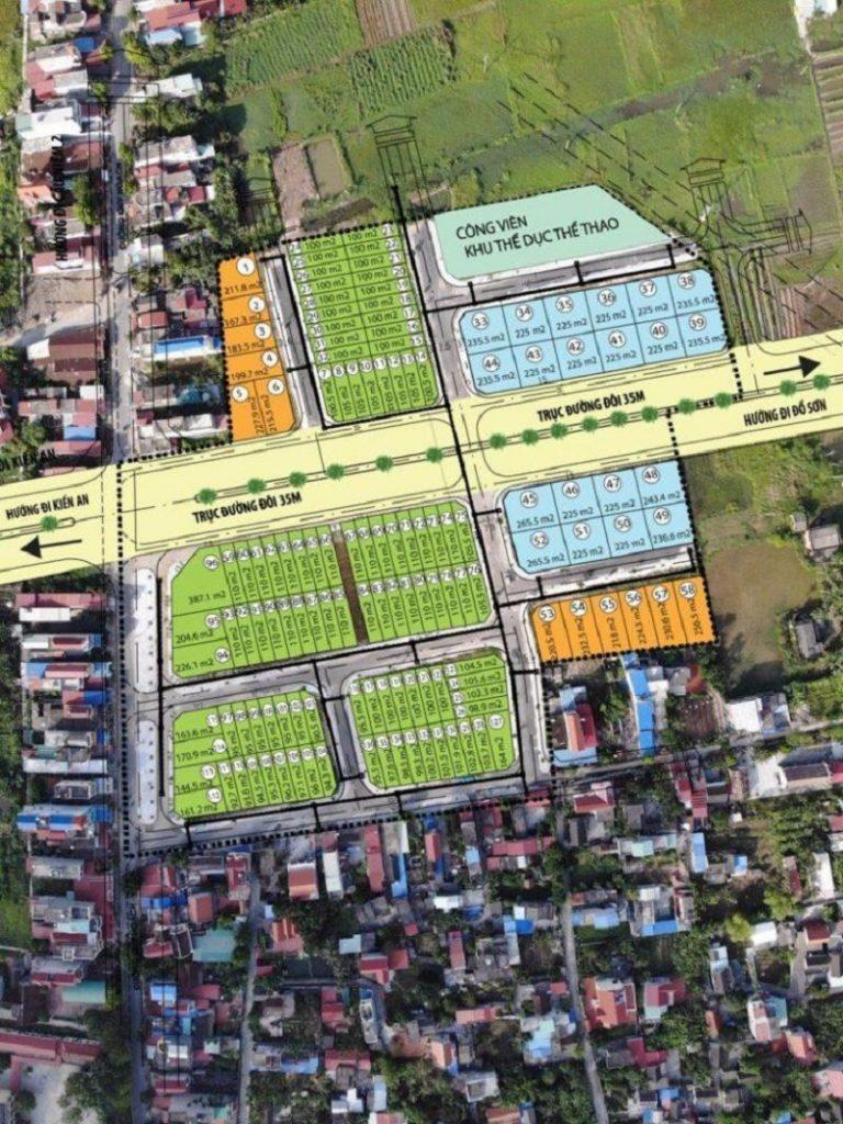 Mặt bằng phân lô thực tế dự án đất nền Đa Phúc Central Park - Dương Kinh - Hải Phòng