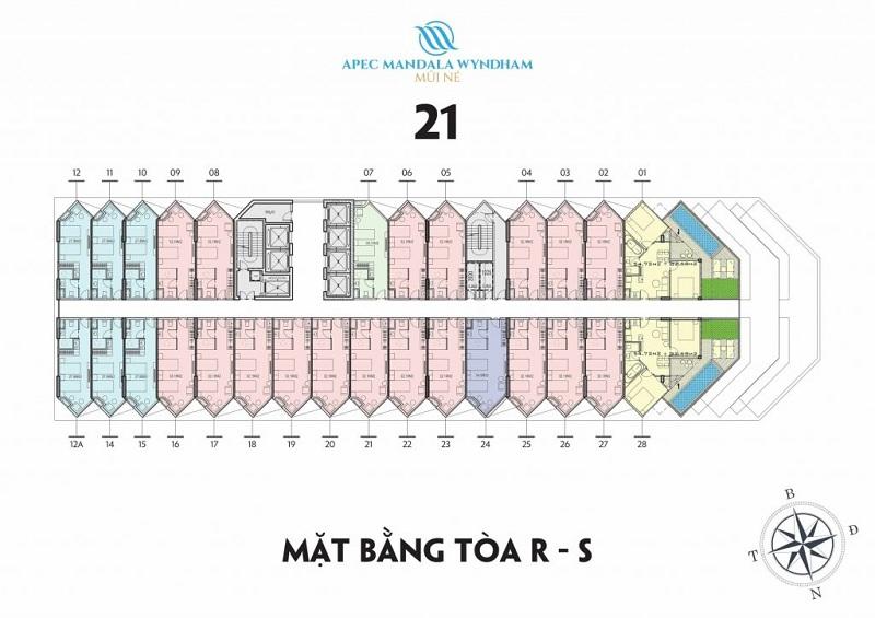 Mặt bằng tầng 21 tòa R-S Apec Mandala Wyndham Mũi Né - Phan Thiết