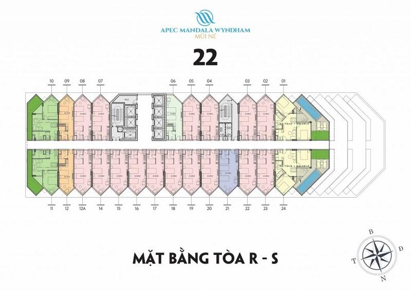 Mặt bằng tầng 22 tòa R-S Apec Mandala Wyndham Mũi Né - Phan Thiết