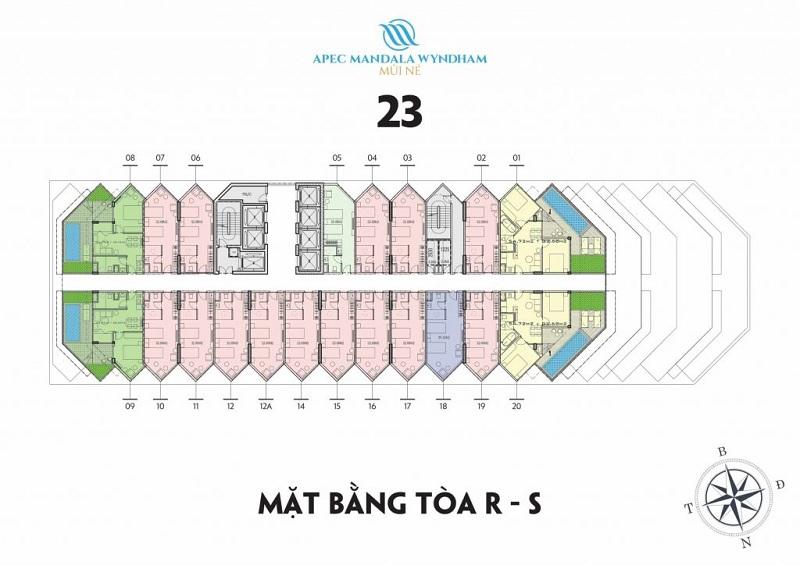 Mặt bằng tầng 23 tòa R-S Apec Mandala Wyndham Mũi Né - Phan Thiết