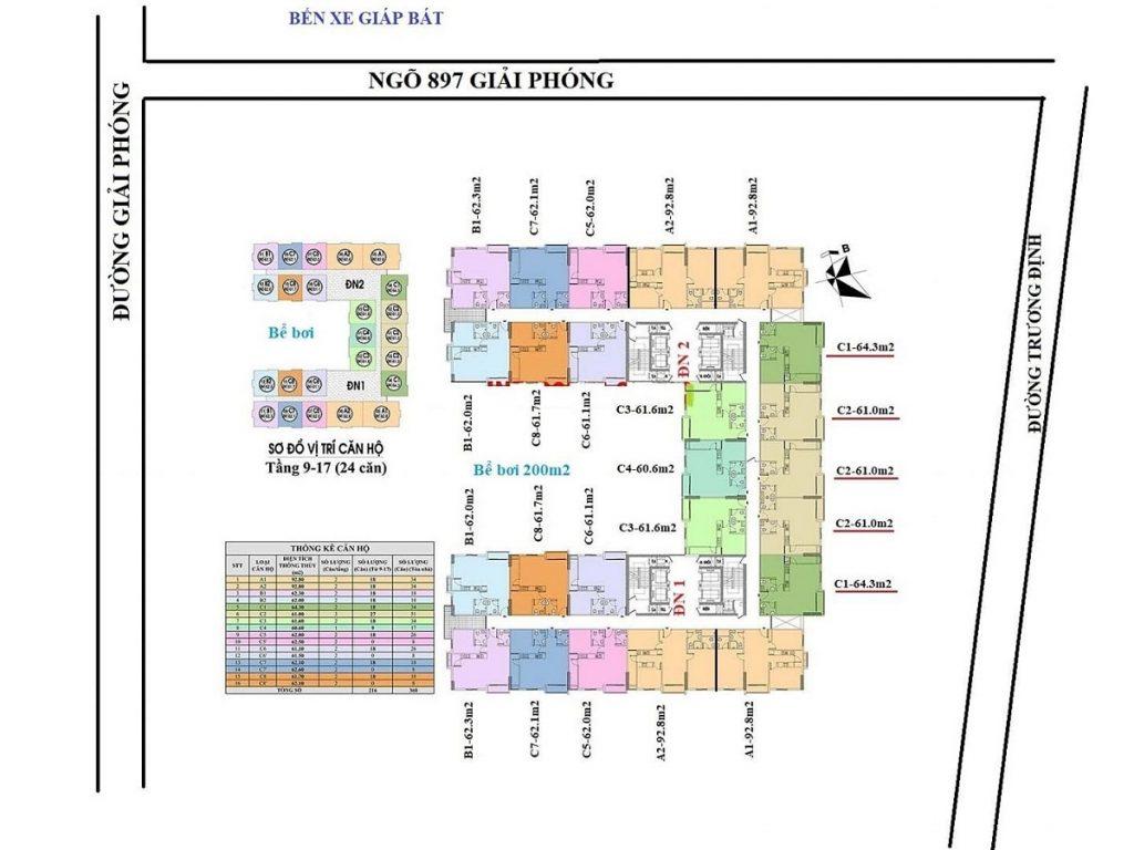 Mặt bằng tầng điển hình dự án chung cư  Đuôi Cá Building - Geleximco 897 Giải Phóng
