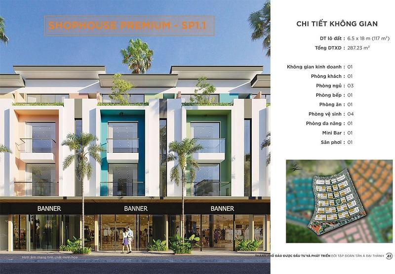 Phối cảnh Shophouse Premium SP1-1 dự án Meyhomes Capital Phú Quốc - Tân Á Đại Thành
