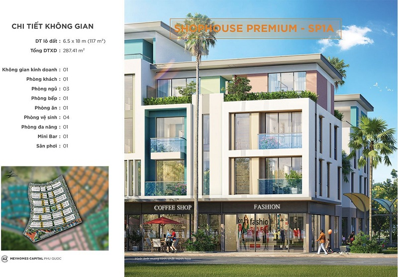 Phối cảnh Shophouse Premium SP1-A dự án Meyhomes Capital Phú Quốc - Tân Á Đại Thành