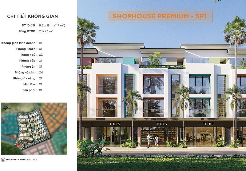 Phối cảnh Shophouse Premium SP1 dự án Meyhomes Capital Phú Quốc - Tân Á Đại Thành