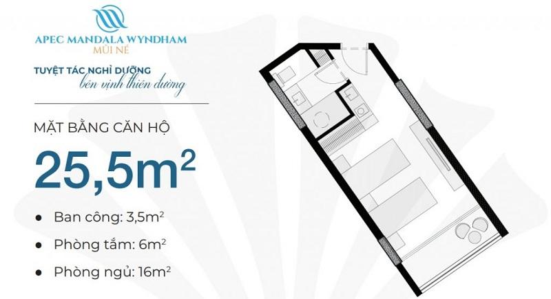 Thiết kế căn hộ 25,5m2 Apec Mandala Wyndham Mũi Né - Phan Thiết