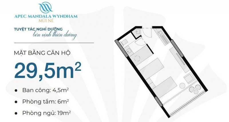 Thiết kế căn hộ 29,5m2 Apec Mandala Wyndham Mũi Né - Phan Thiết