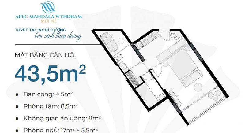 Thiết kế căn hộ 43,5m2 Apec Mandala Wyndham Mũi Né - Phan Thiết