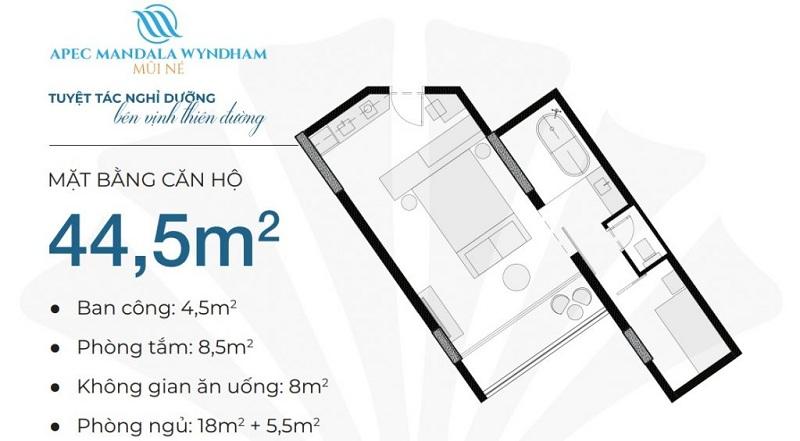 Thiết kế căn hộ 44,5m2 Apec Mandala Wyndham Mũi Né - Phan Thiết