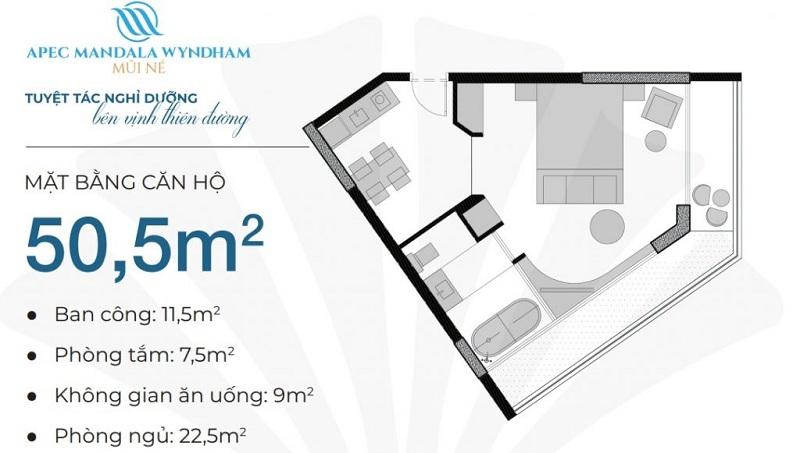 Thiết kế căn hộ 50,5m2 Apec Mandala Wyndham Mũi Né - Phan Thiết